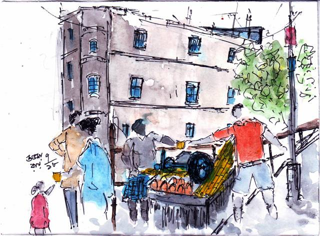 line and wash sketch of sugarcane juice seller