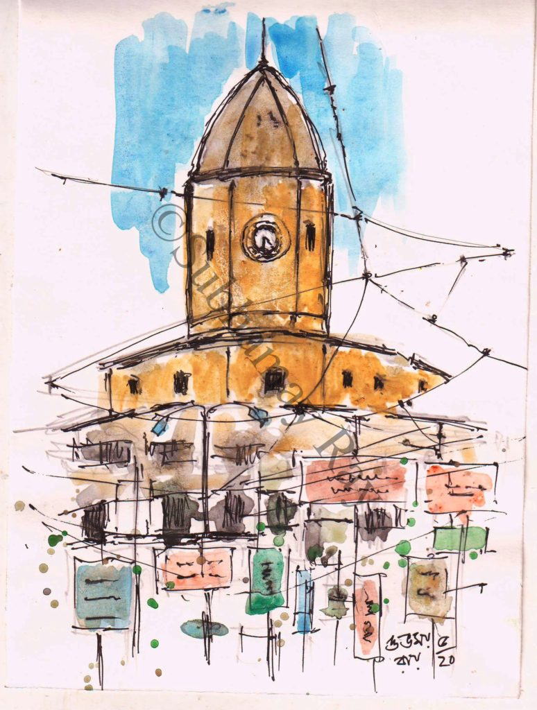 line and wash sketch of clock tower