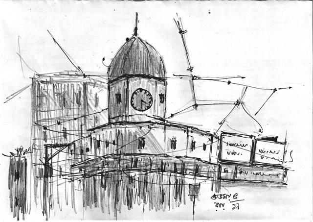 pen and pencil sketch