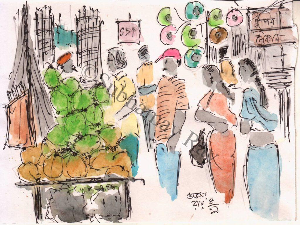 line and wash sketch of a green coconut vendor