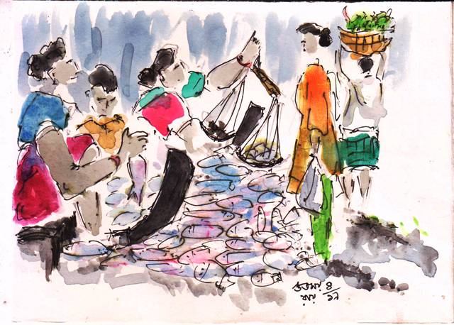 line and wash sketch of fish sellers