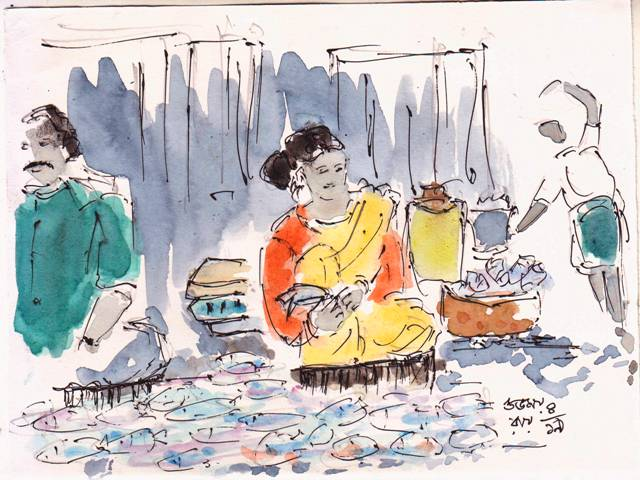 line and wash sketch of fishsellers
