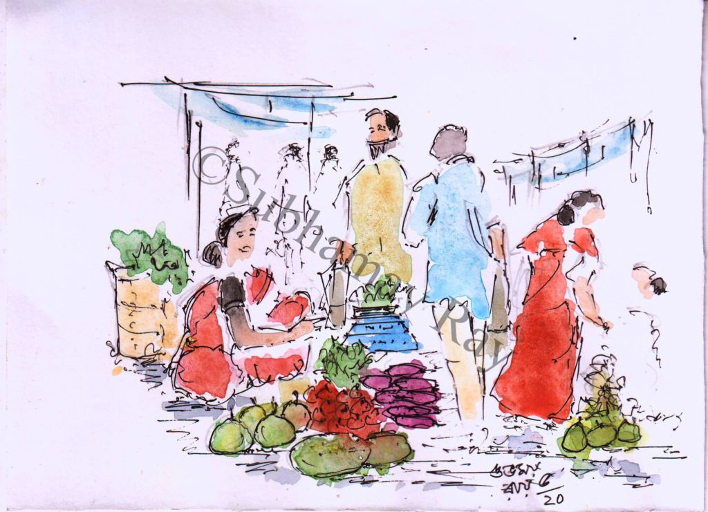 water colour sketch of daily market