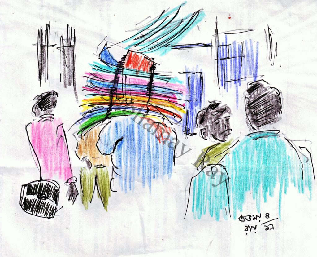pen and coloured pencil sketch of crowded indian city roads