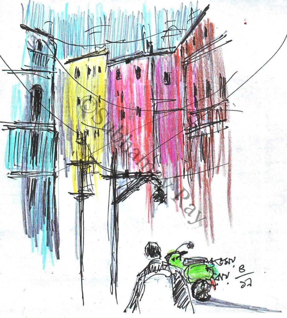 urban street scene - pen and coloured pencil sketch