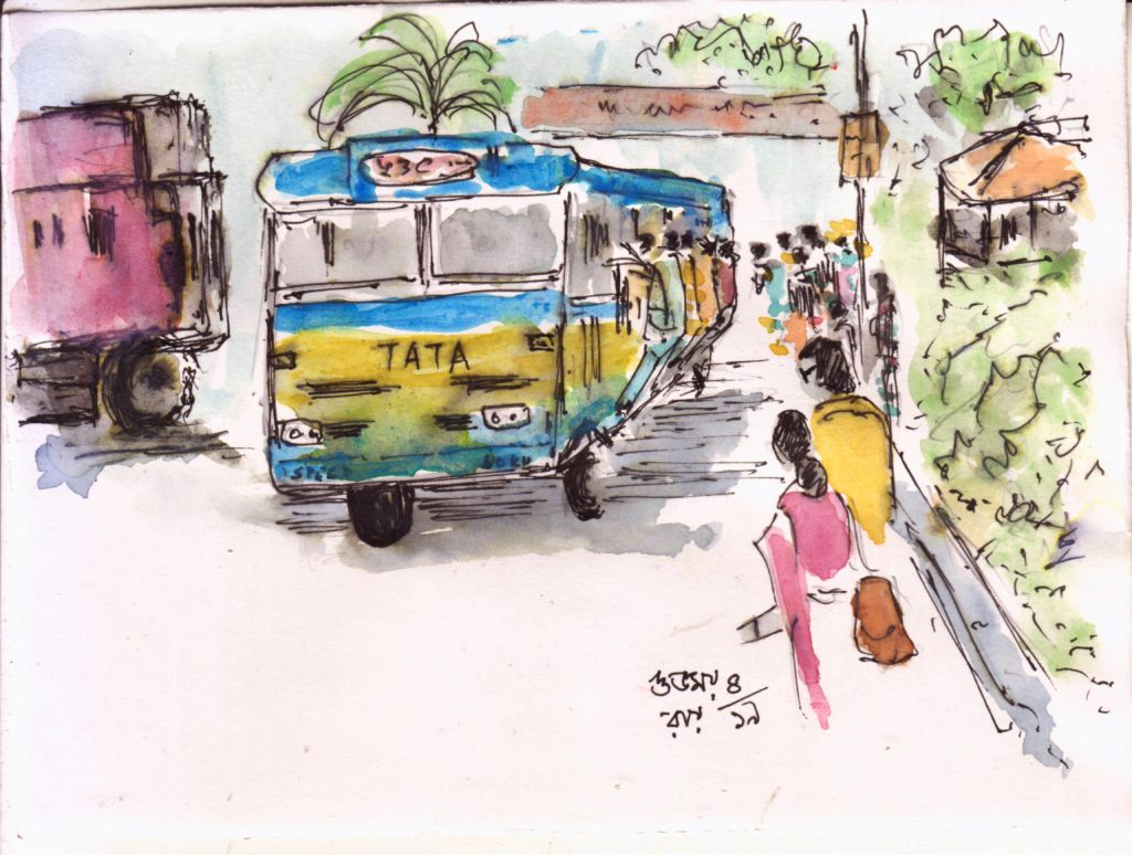 urban sketch-line and wash