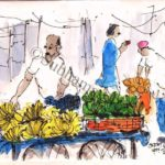 line and wash sketch of a banana seller's cart