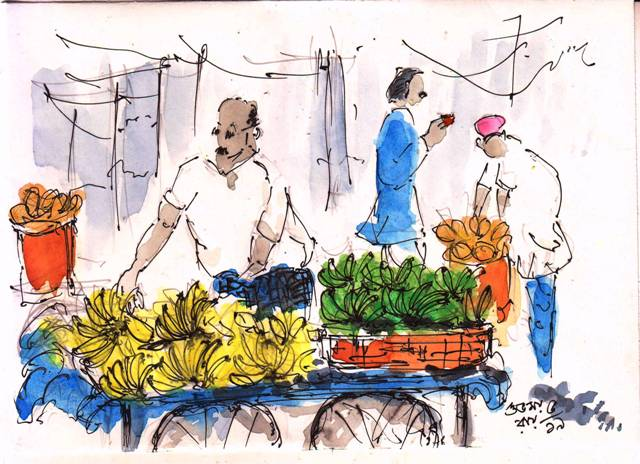 line and wash sketch of a fruit seller