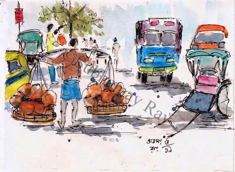 water colour sketch of a man carrying shoulder yoke