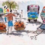 urban sketch line and wash
