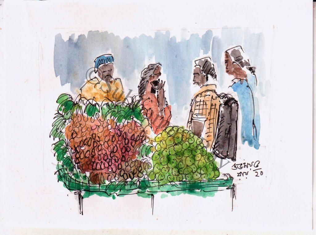 sketch of roadside fruit vendor