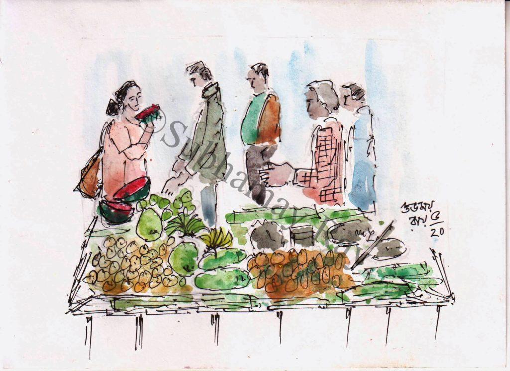 watercolor sketch of a fruit seller