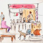 water colour sketch of a tea stall