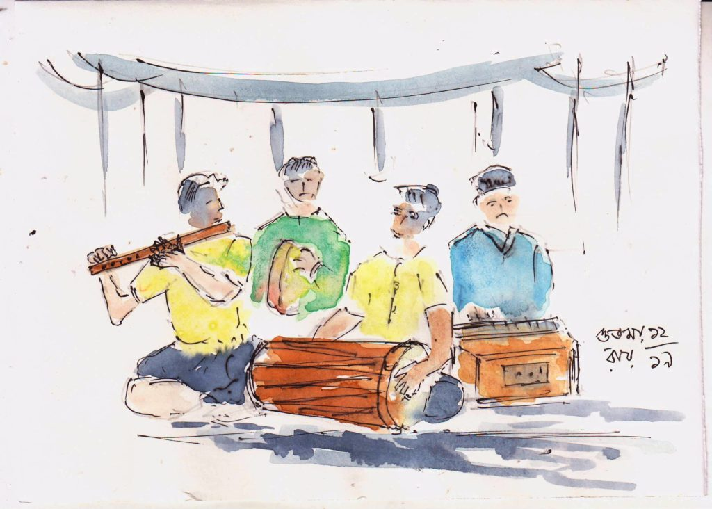 line and wash sketch of village musicians