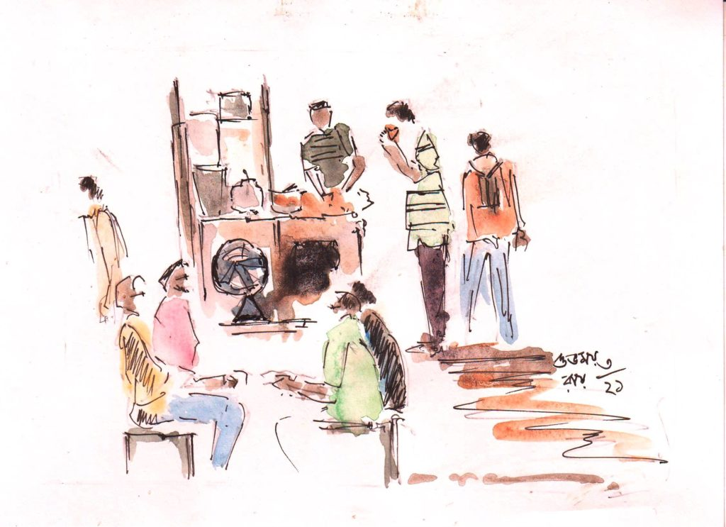water colour sketch of a roadside tea stall