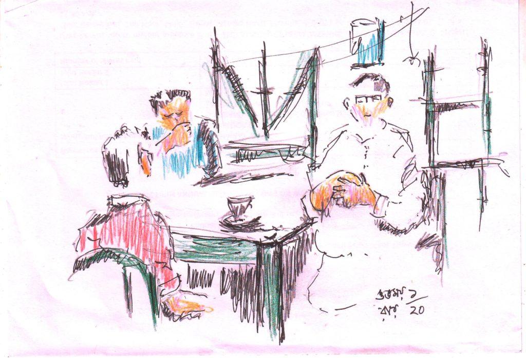 pen sketch of a tea shop