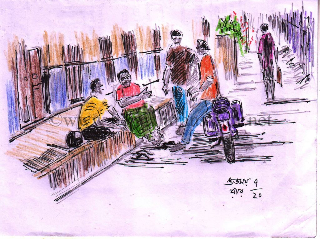 pen and coloured pencil sketch of an adda session