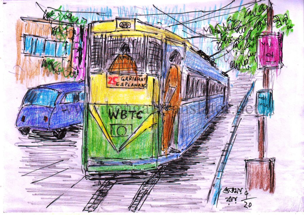 pen and coloured pencil sketch of a tram car