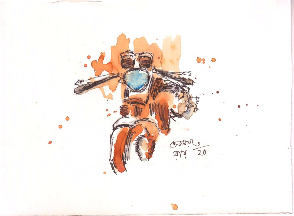line and wash sketch of a motore cycle
