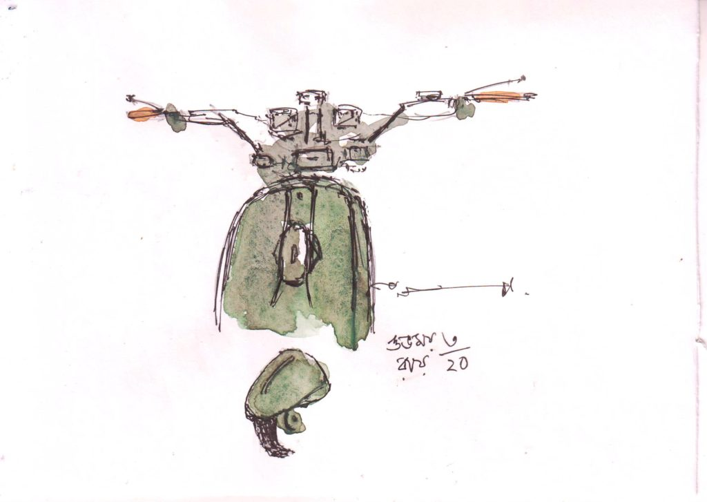 line and wash sketch of a scooter