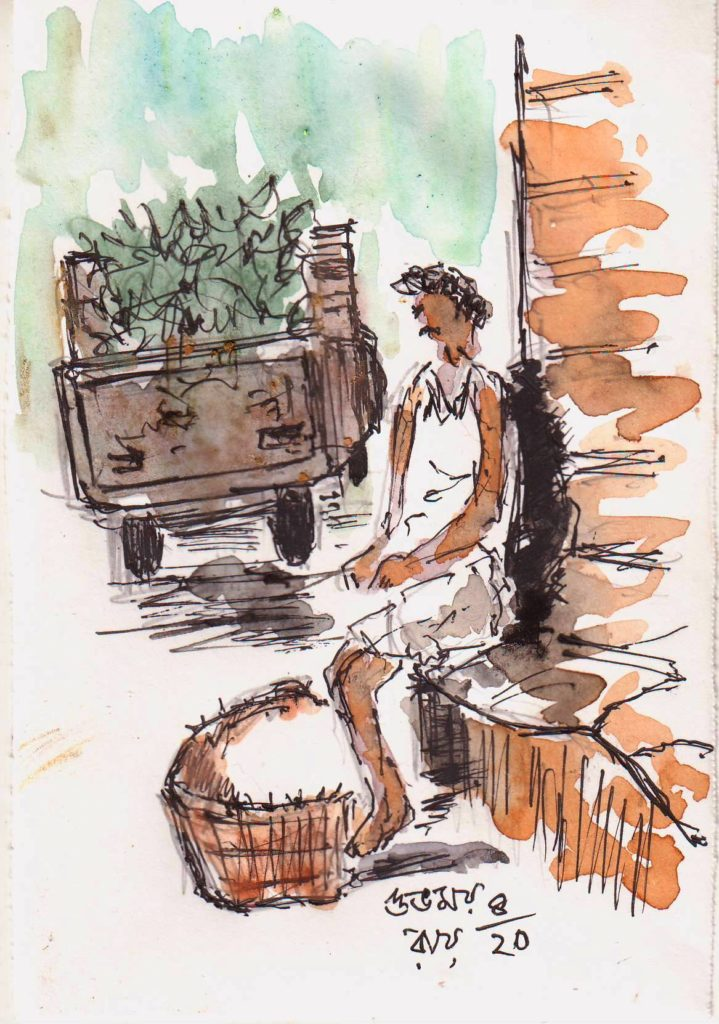 line and wash sketch of a day labourer