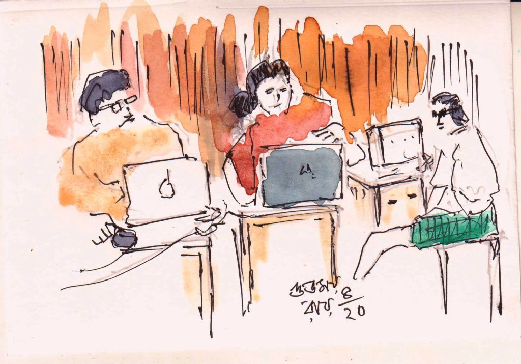 line and wash sketch of people working from home