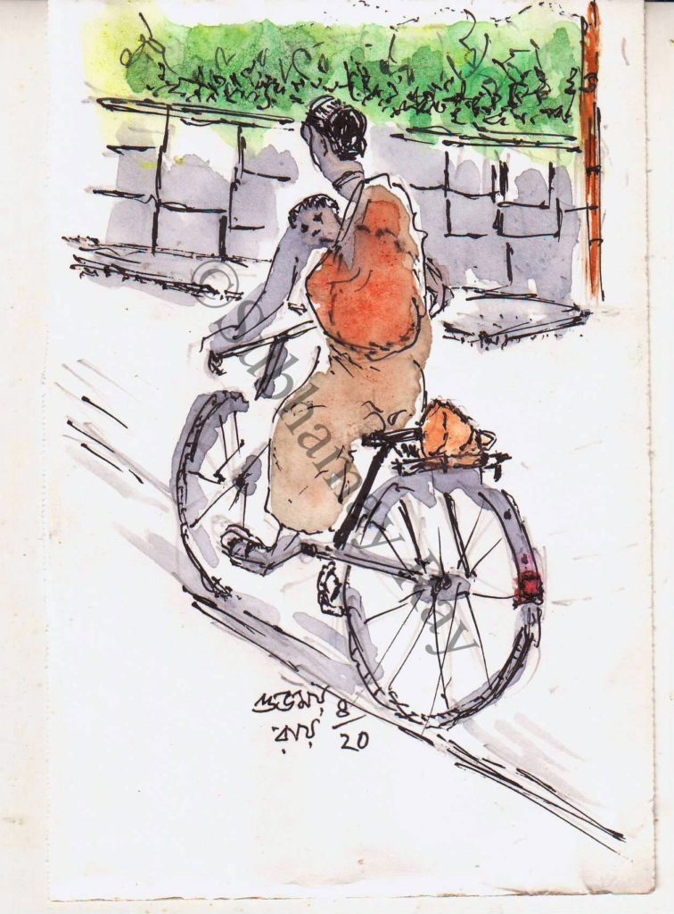 line and wash sketch of a woman riding a cycle