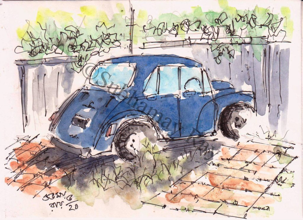 line and wash sketch of an old car
