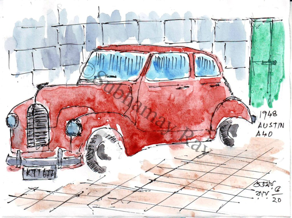 watercolor sketch of old car