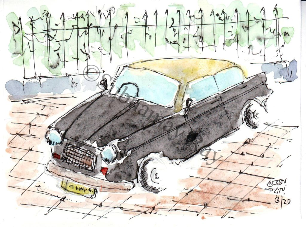 line and wash sketch of a fiat taxi