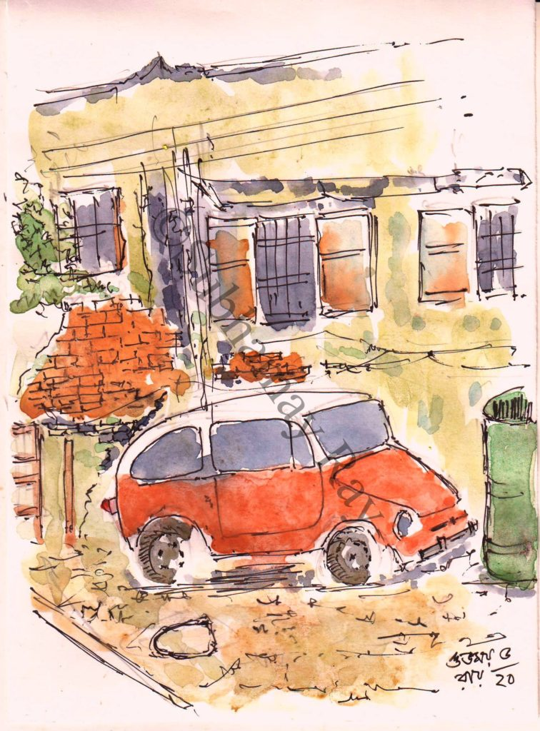 line and wash sketch of old car