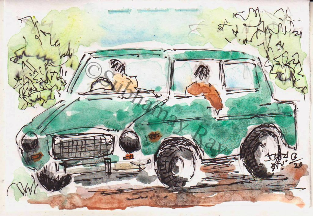 line and wash sketch of a car