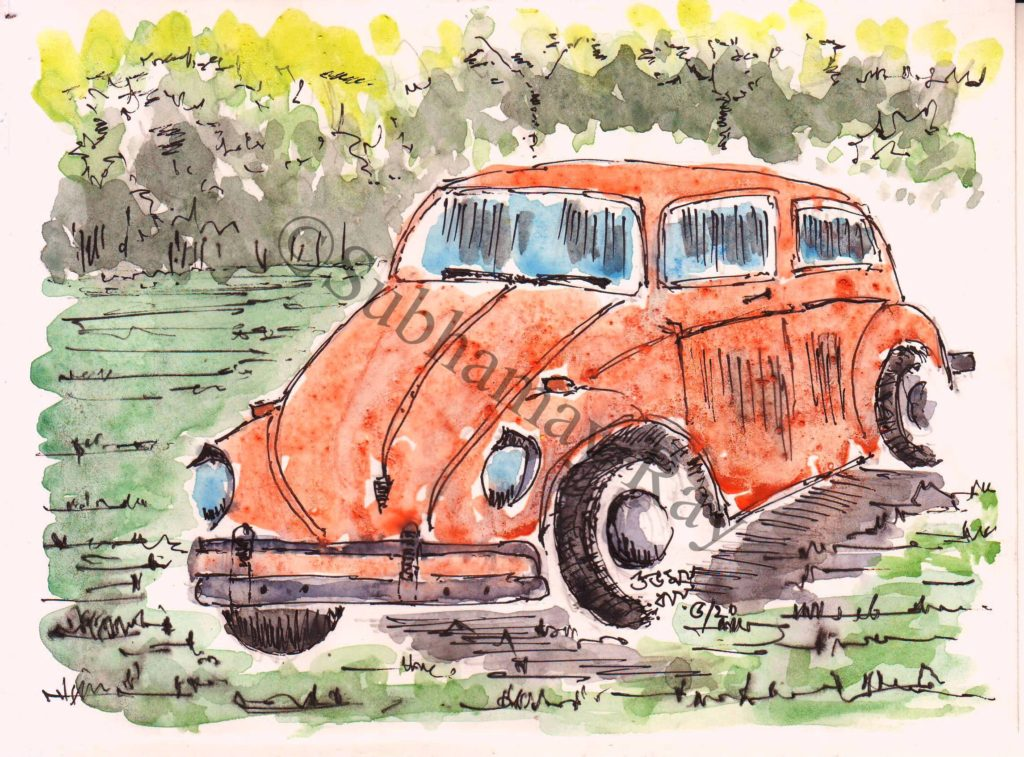 water colour sketch of an old car