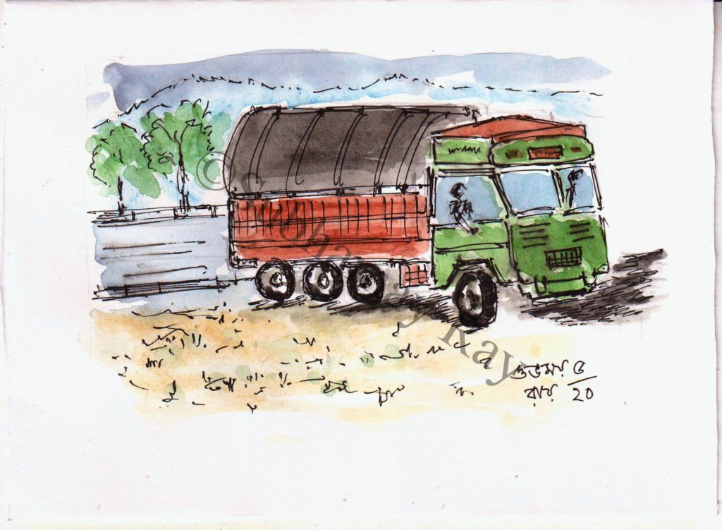 watercolor sketch of a loaded truck