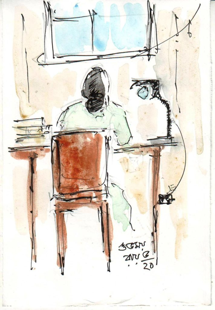 line and wash sketch of a woman near her writing desk