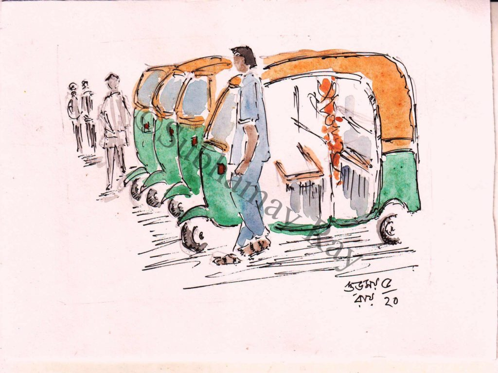 water colour sketch of auto rickshaws