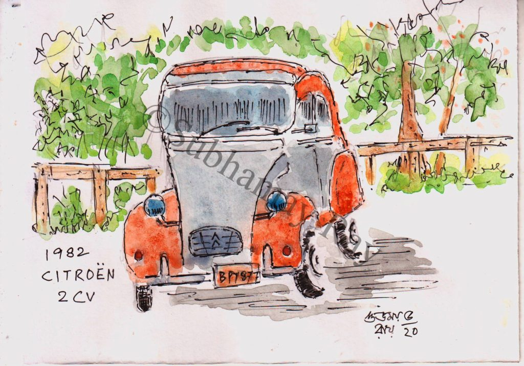 watercolor sketch of an old car