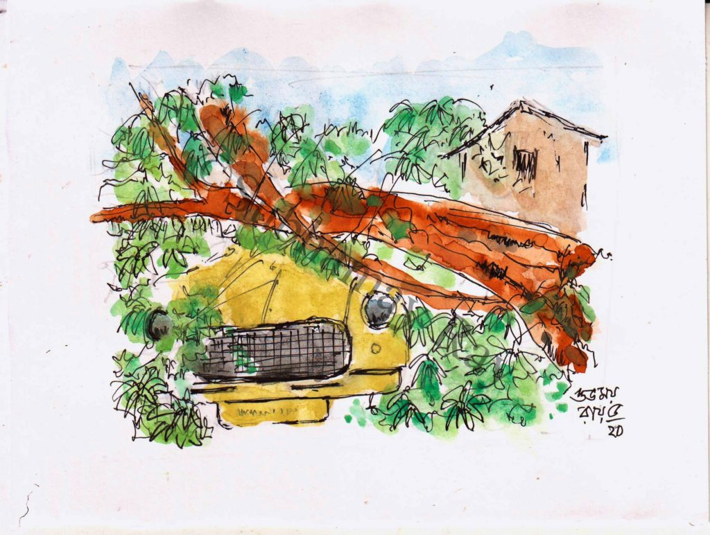 watercolor sketch of devastation caused by a cyclone