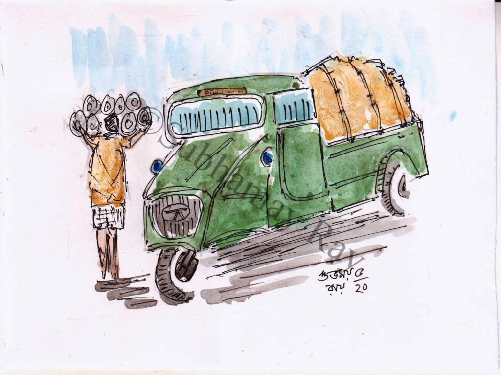 watercolor sketch of an Indian tempo vehicle