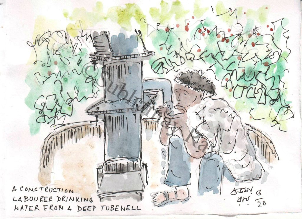 watercolor sketch of man drinking water