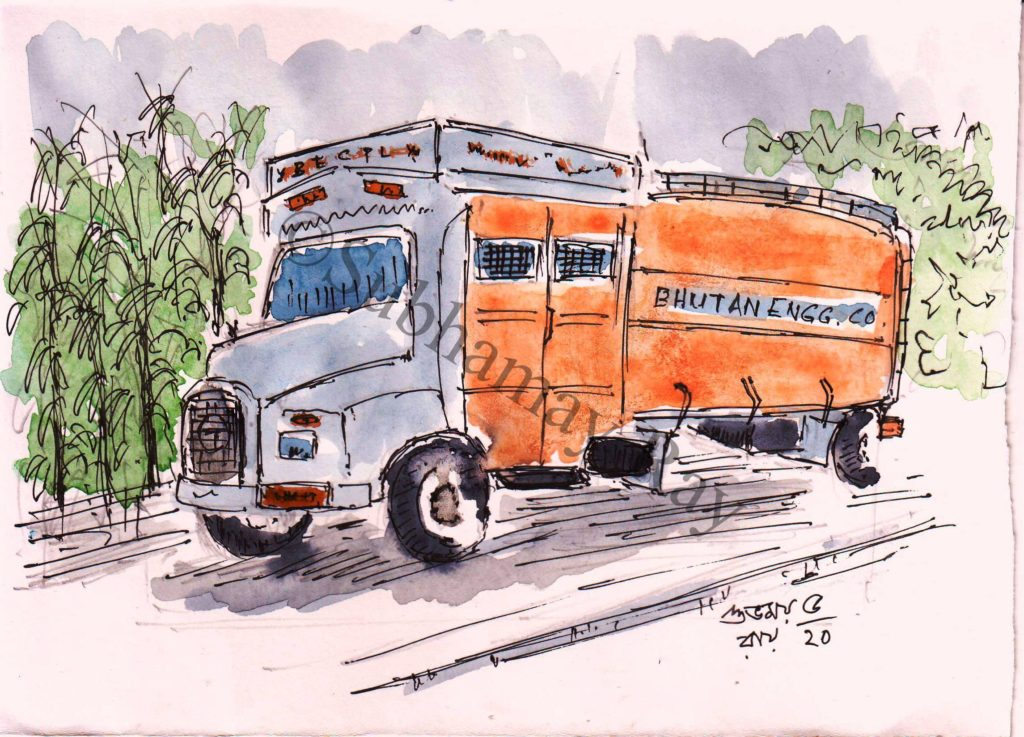 watercolor painting of a fuel truck