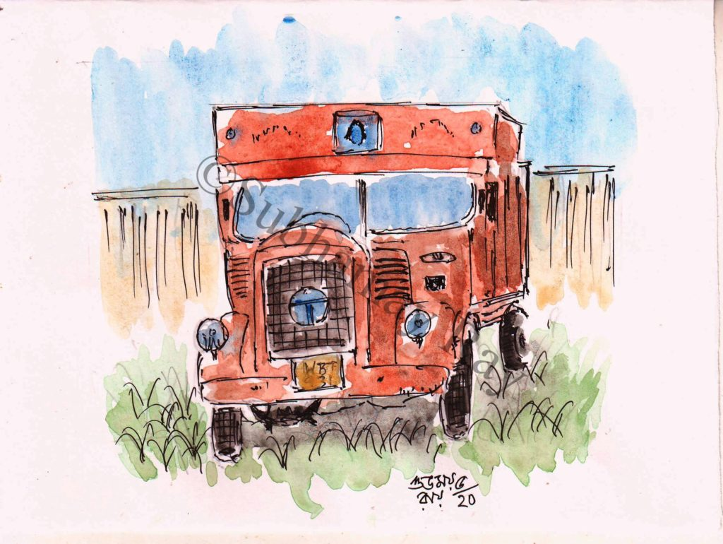 watercolor painting of truck
