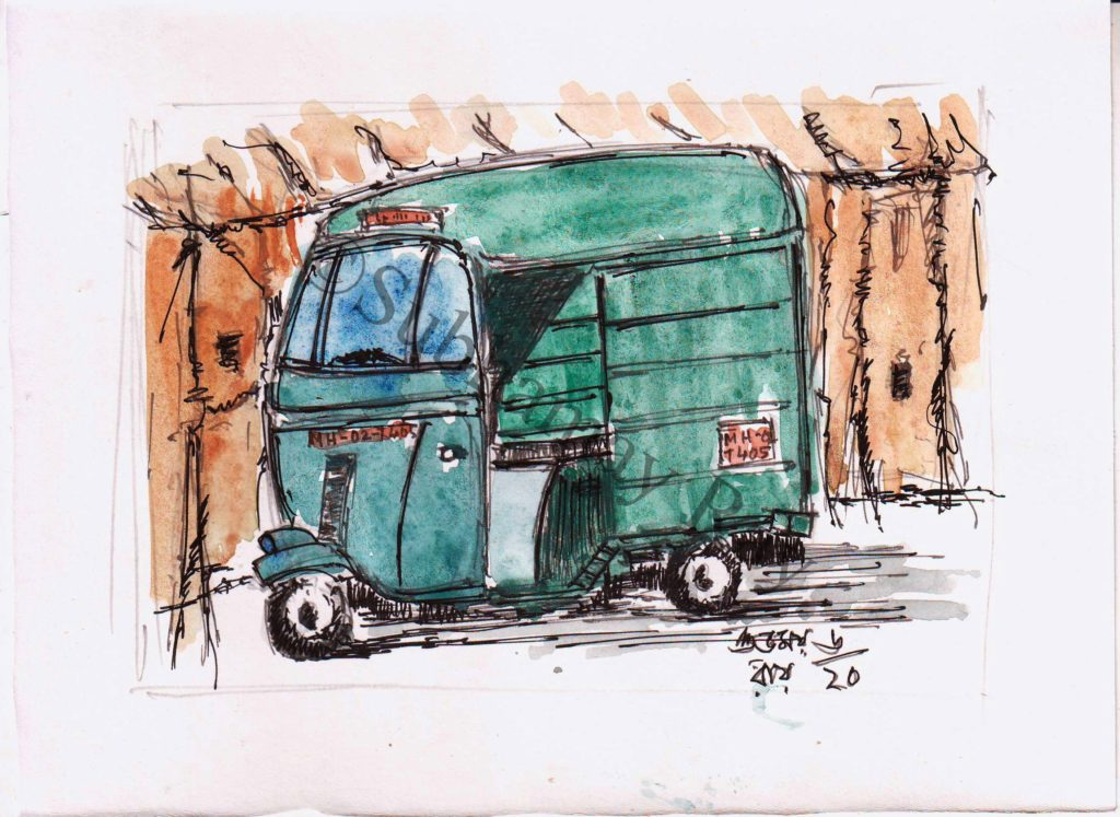 watercolor sketch of three wheeler light commercial vehicle