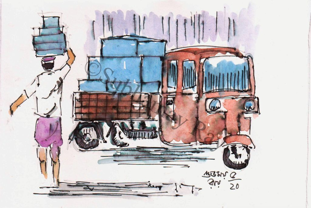 line and wash watercolor sketch of a goods vehicle