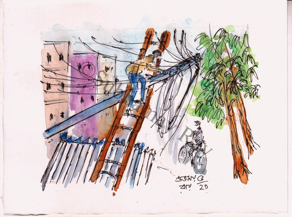 watercolor sketch of worker repairing electric pole