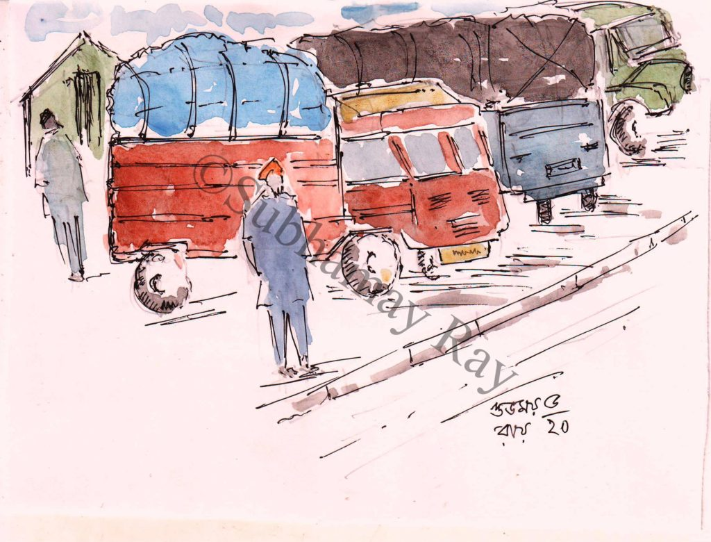 water colour sketch of trucks