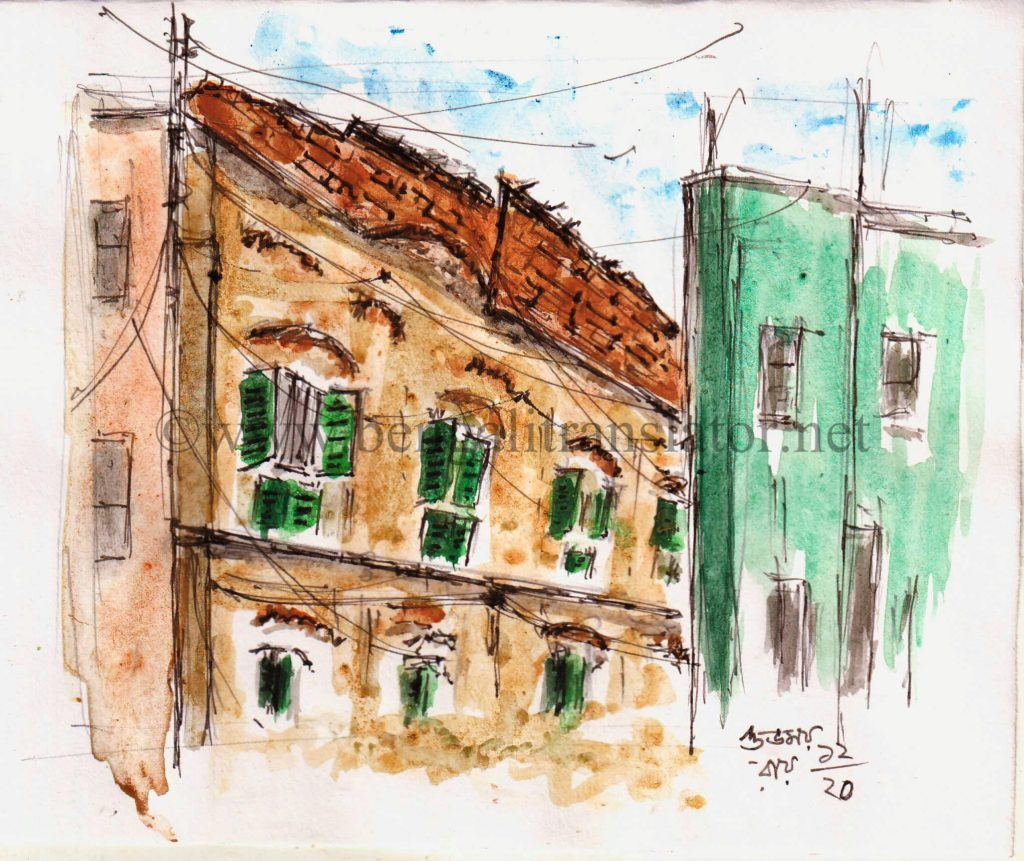 water colour sketch of old building