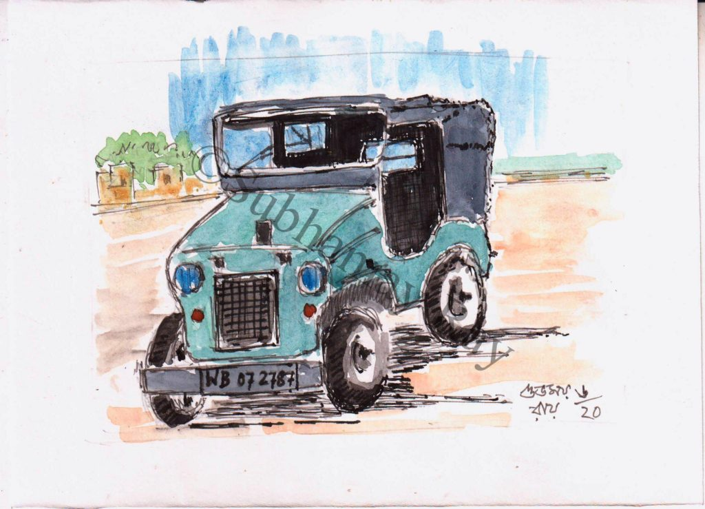 watercolor drawing of a jeep