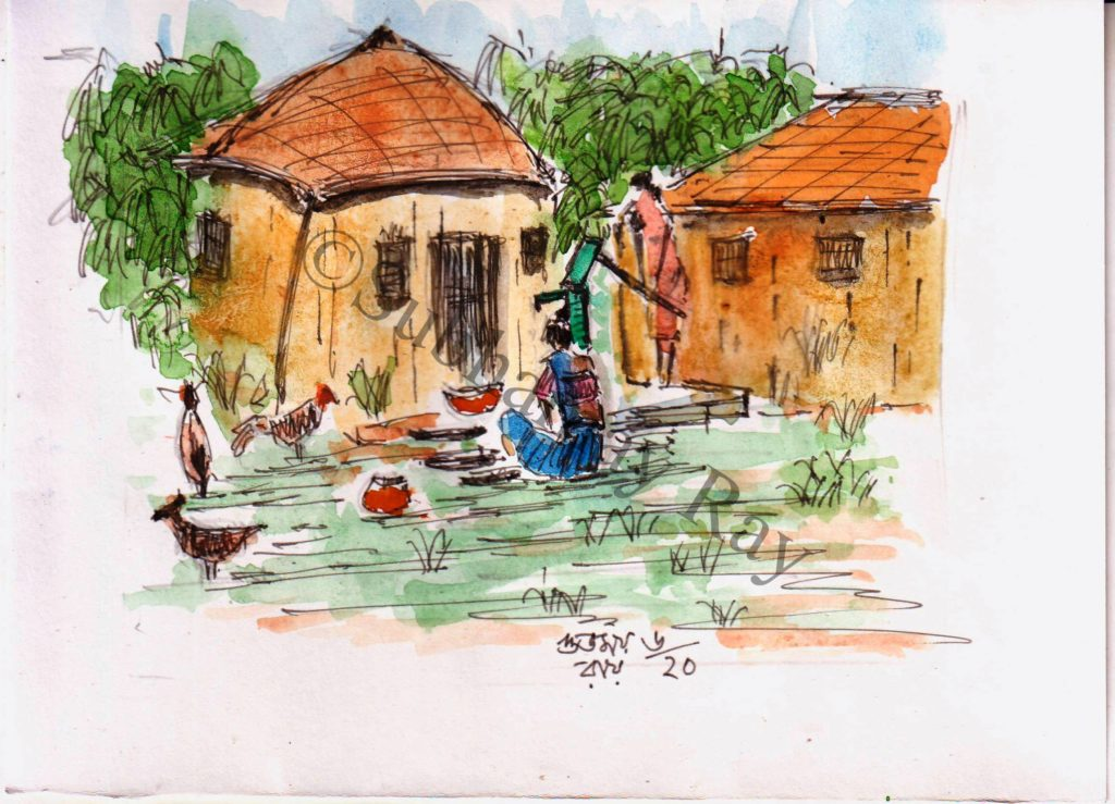 watercolor sketch of a village scene