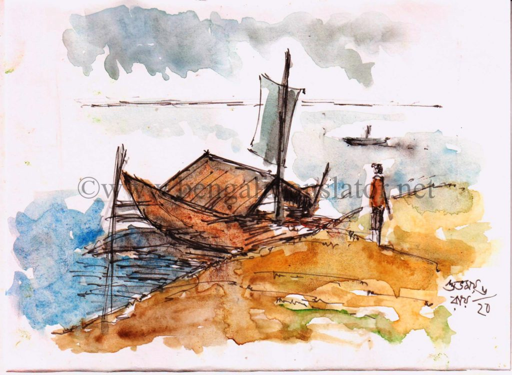 water colour sketch of a boat in the river